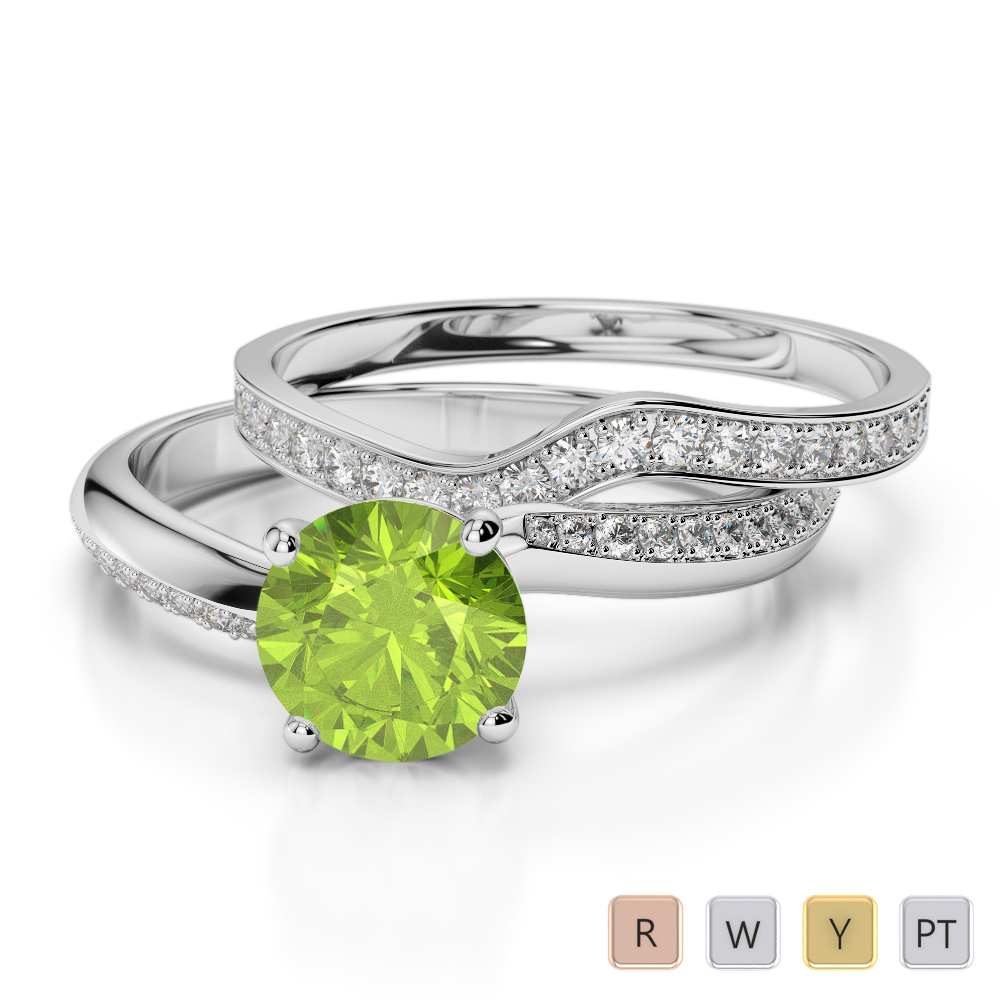 Gold / Platinum Round cut Peridot and Diamond Bridal Set Ring AGDR-2017