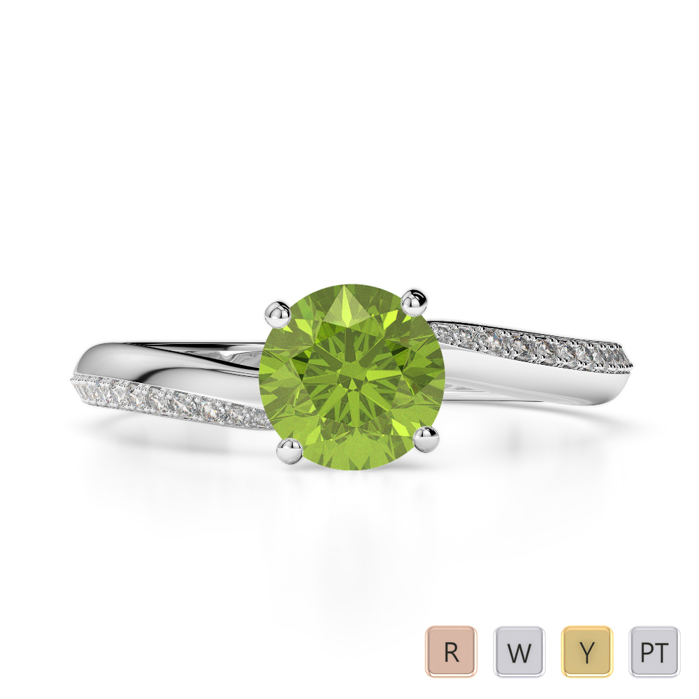 Gold / Platinum Round Cut Peridot and Diamond Engagement Ring AGDR-2018