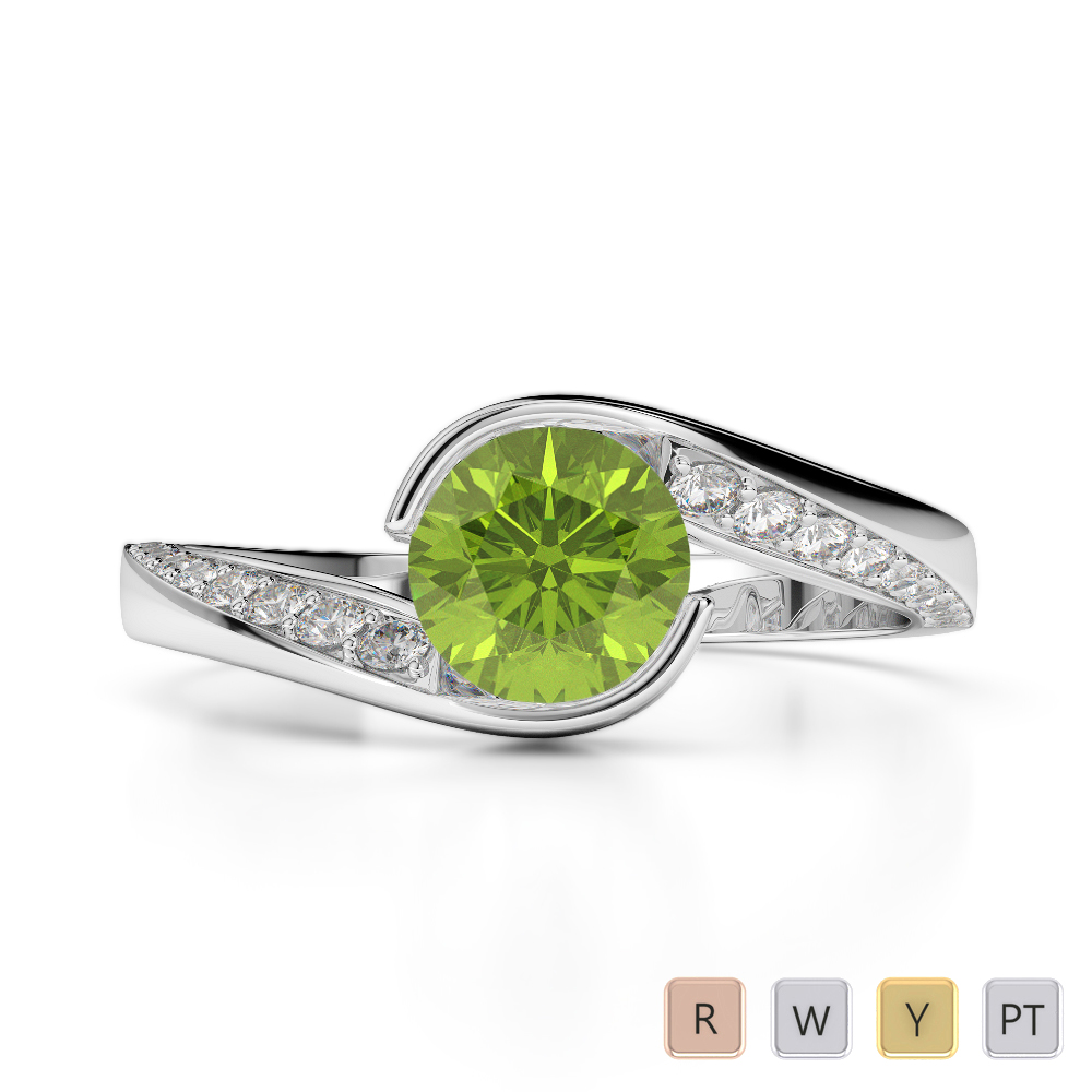 Gold / Platinum Round Cut Peridot and Diamond Engagement Ring AGDR-2020