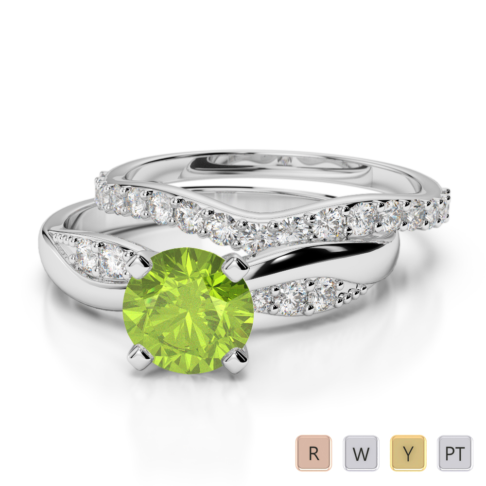 Gold / Platinum Round cut Peridot and Diamond Bridal Set Ring AGDR-2023