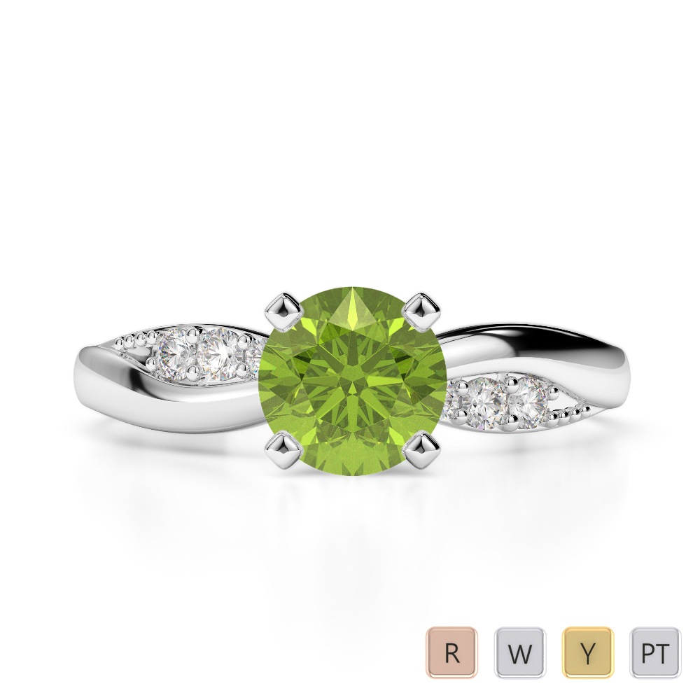 Gold / Platinum Round Cut Peridot and Diamond Engagement Ring AGDR-2024