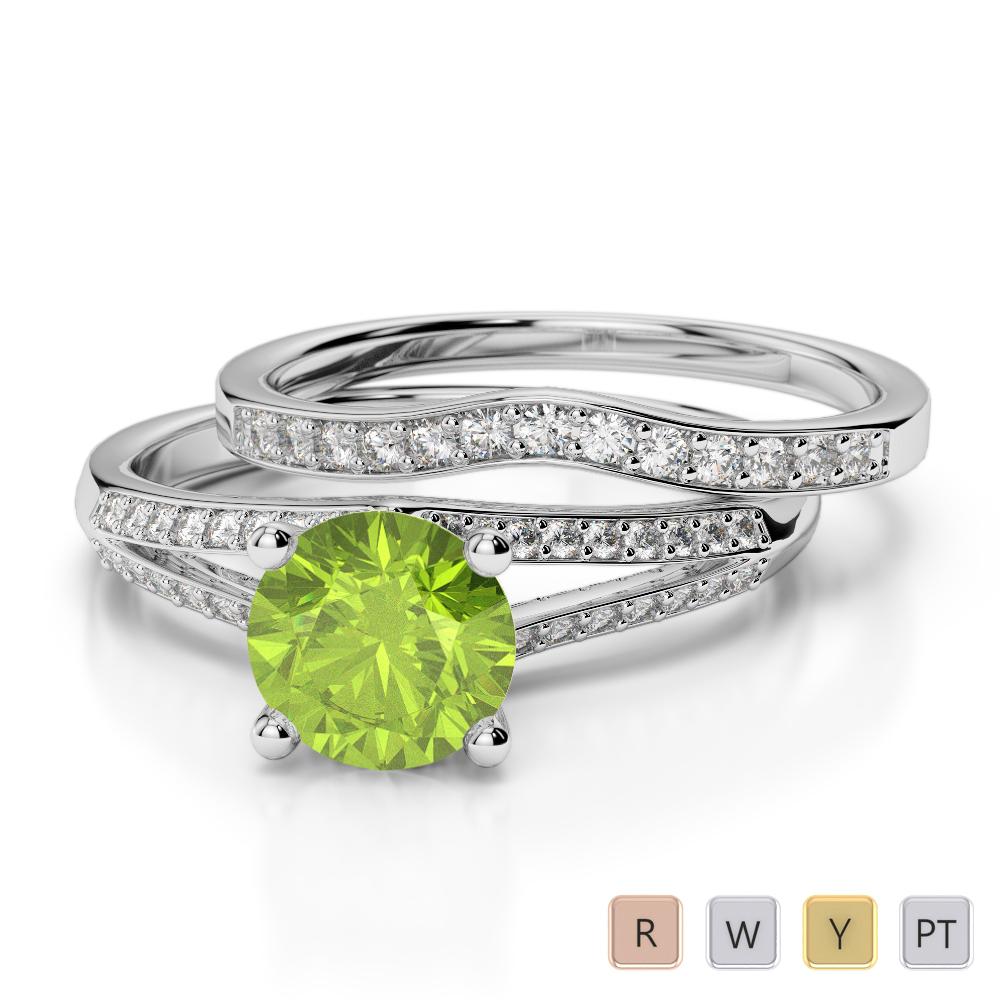 Gold / Platinum Round cut Peridot and Diamond Bridal Set Ring AGDR-2037