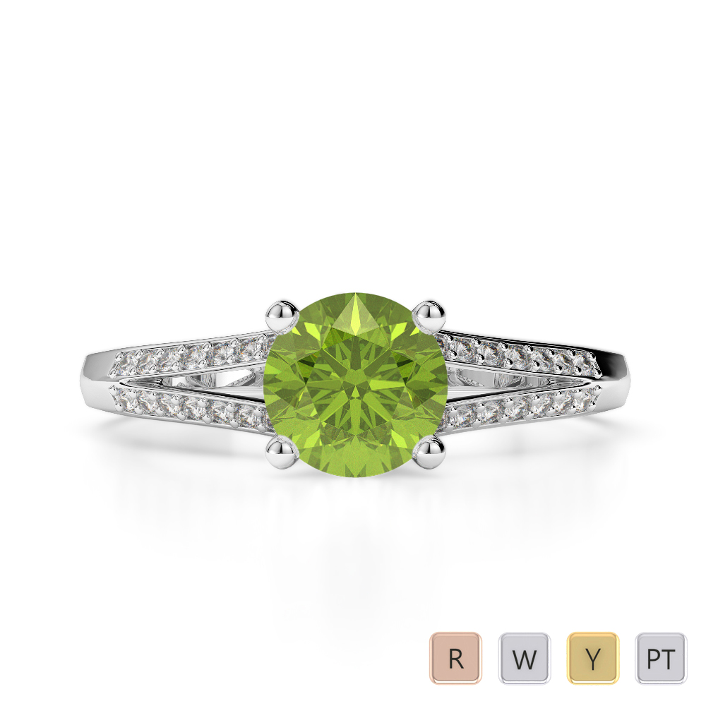 Gold / Platinum Round Cut Peridot and Diamond Engagement Ring AGDR-2038