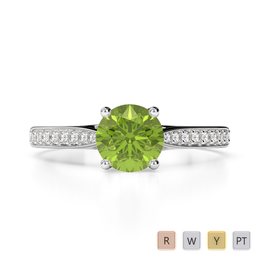 Gold / Platinum Round Cut Peridot and Diamond Engagement Ring AGDR-2054