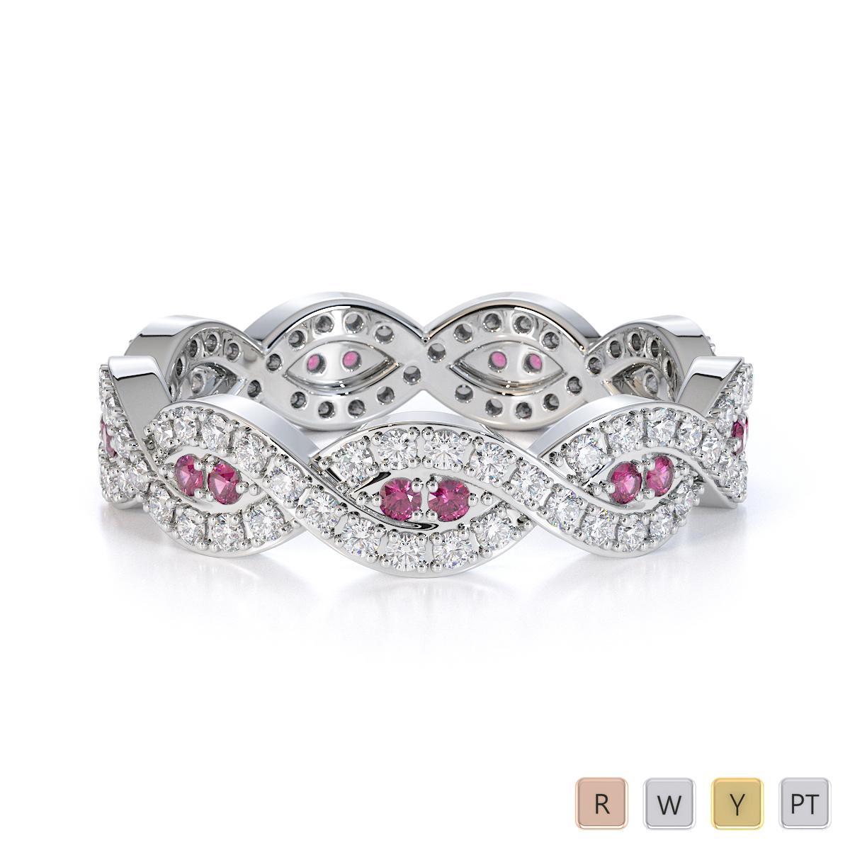Gold / Platinum Pink Sapphire and Diamond Full Eternity Ring RZ1498
