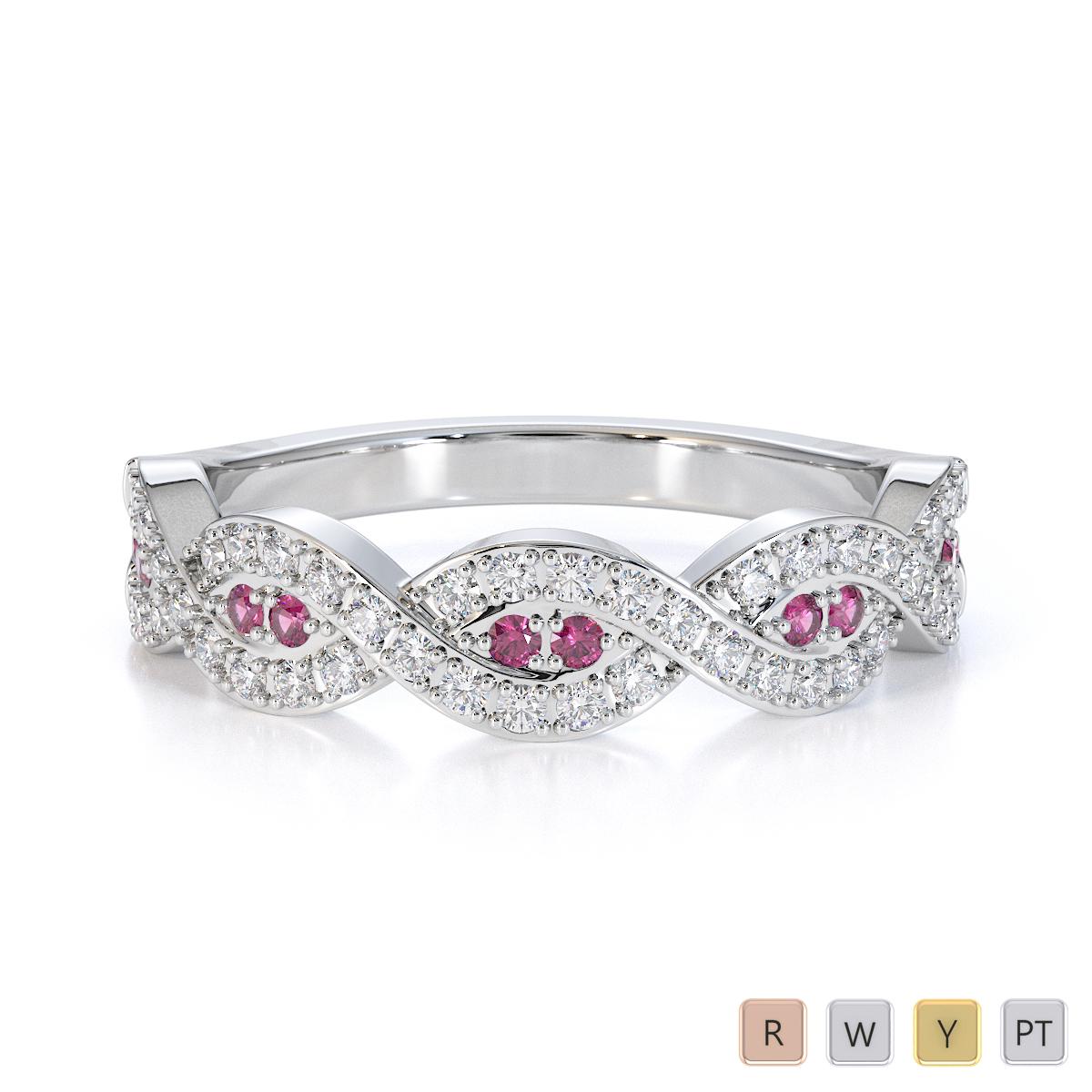Gold / Platinum Pink Sapphire and Diamond Half Eternity Ring RZ1499