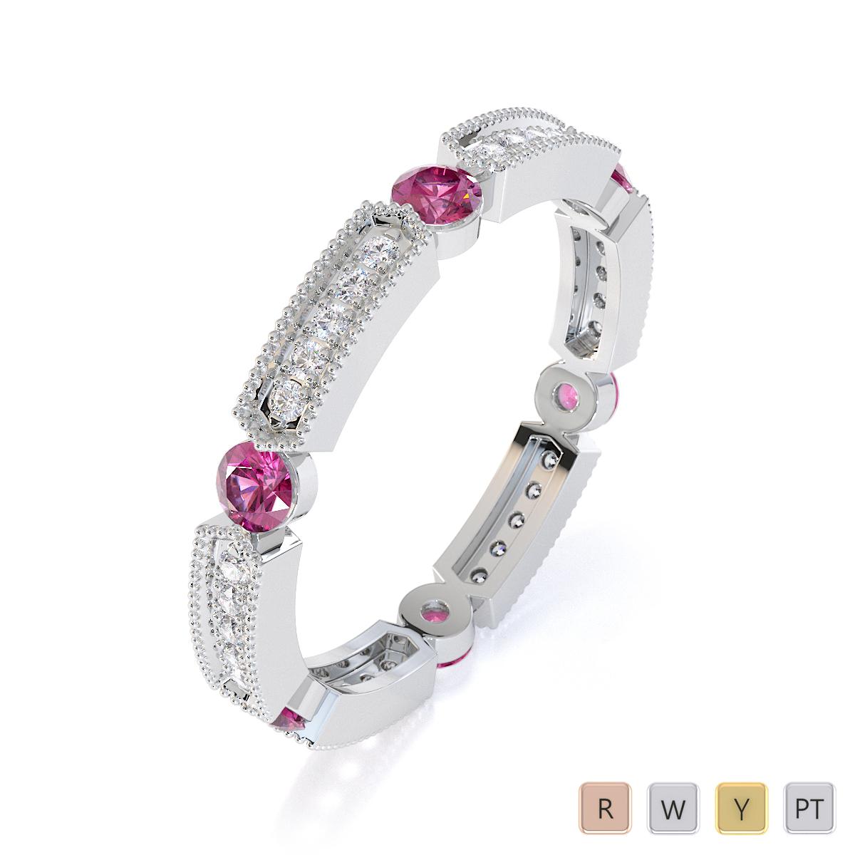 Gold / Platinum Pink Sapphire and Diamond Full Eternity Ring RZ1500