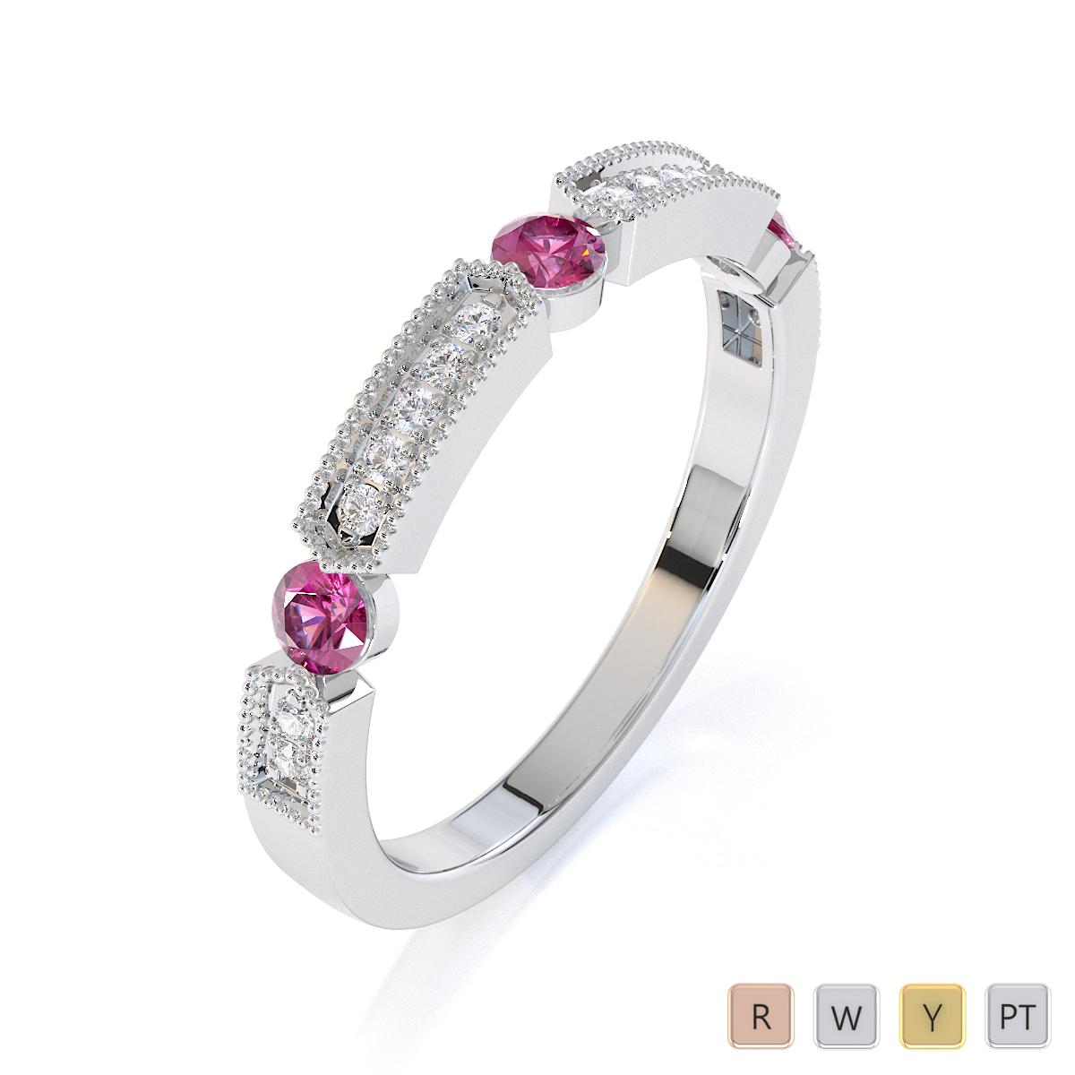 Gold / Platinum Pink Sapphire and Diamond Half Eternity Ring RZ1501