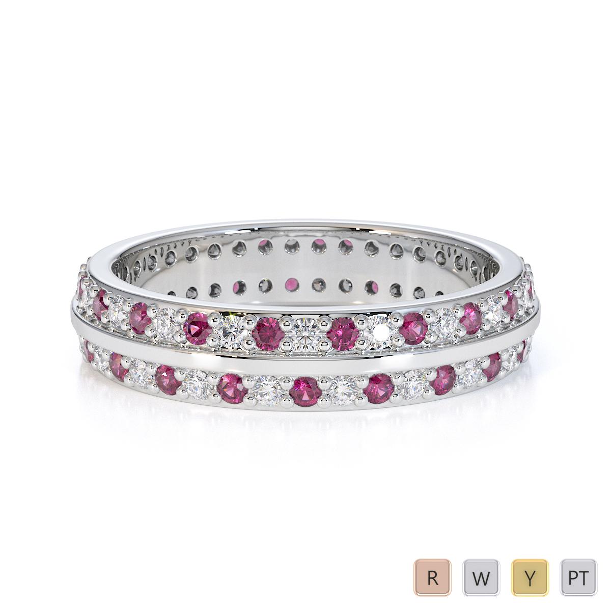 Gold / Platinum Pink Sapphire and Diamond Full Eternity Ring RZ1504
