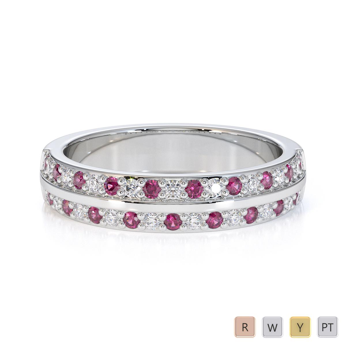 Gold / Platinum Pink Sapphire and Diamond Half Eternity Ring RZ1505