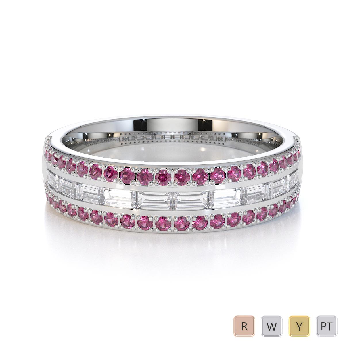 Gold / Platinum Pink Sapphire and Diamond Half Eternity Ring RZ1509