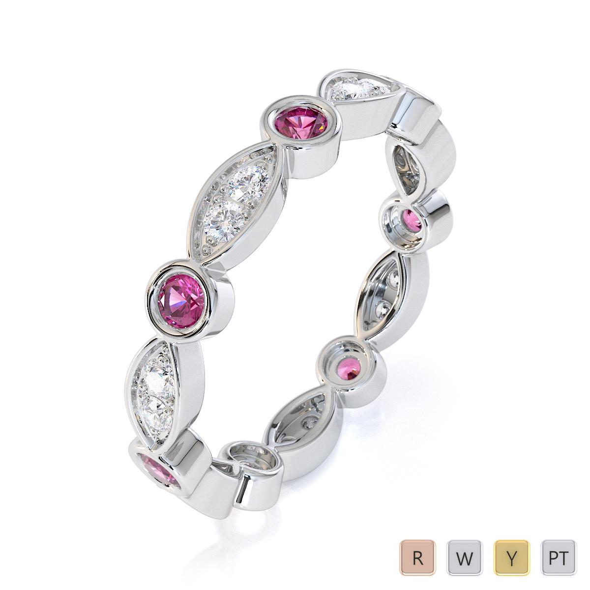 Gold / Platinum Pink Sapphire and Diamond Full Eternity Ring RZ1510