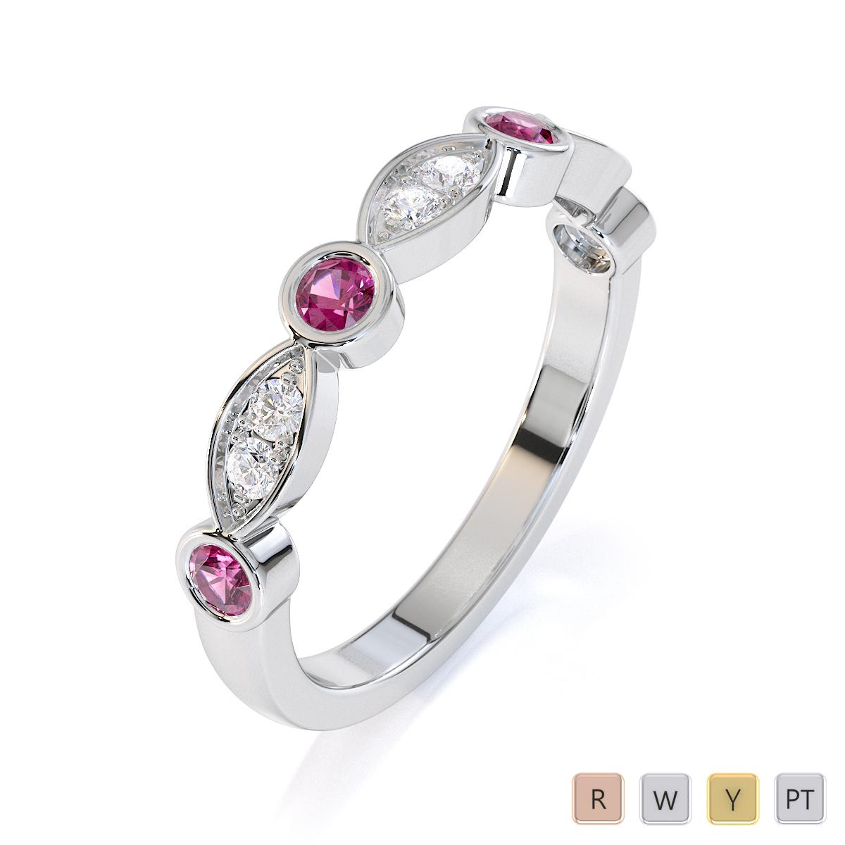 Gold / Platinum Pink Sapphire and Diamond Half Eternity Ring RZ1511