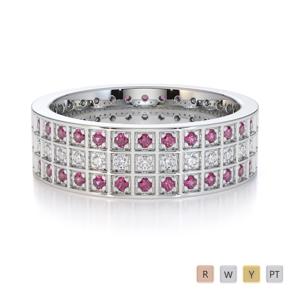 Gold / Platinum Pink Sapphire and Diamond Full Eternity Ring RZ1512