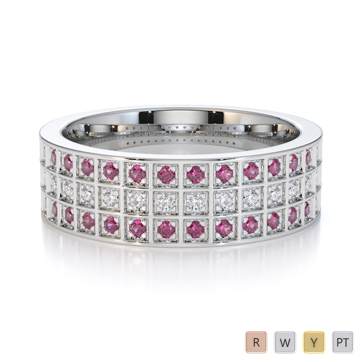 Gold / Platinum Pink Sapphire and Diamond Half Eternity Ring RZ1513