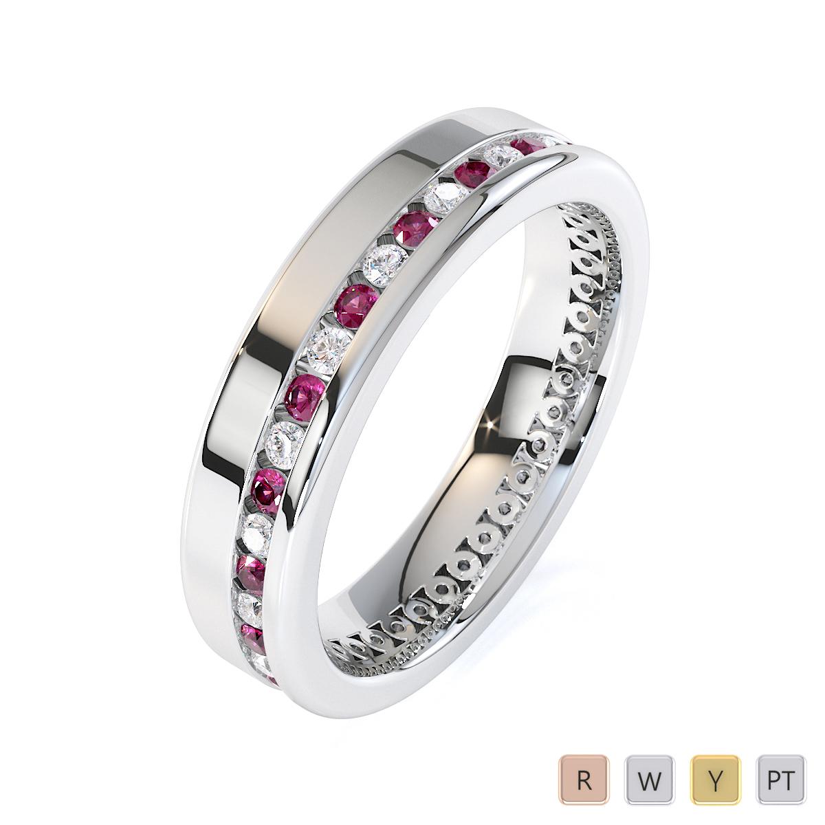 Gold / Platinum Pink Sapphire and Diamond Full Eternity Ring RZ1514
