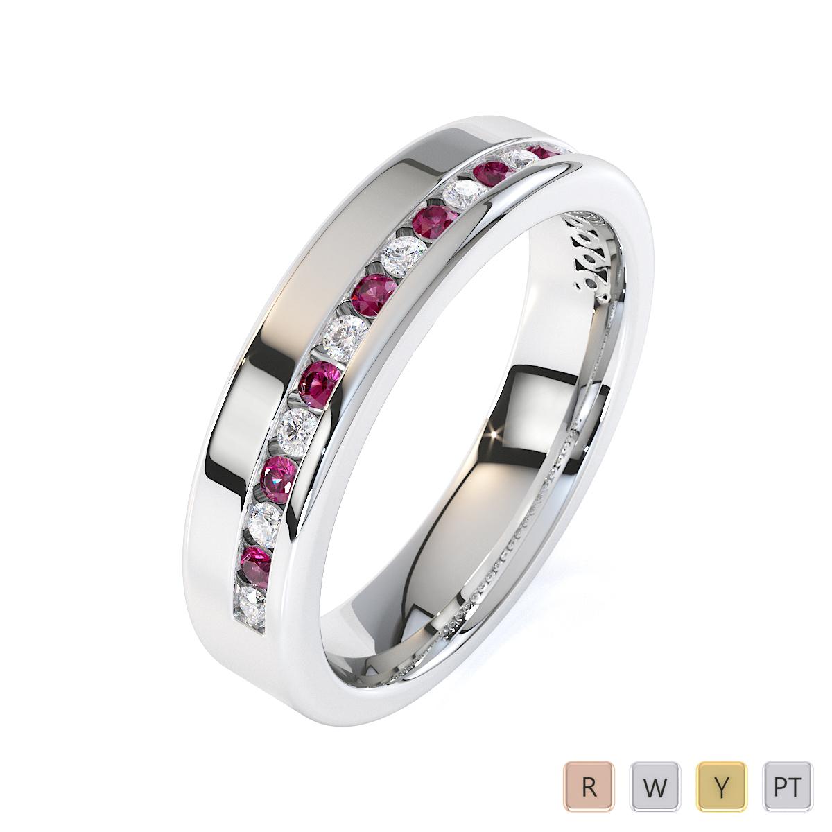 Gold / Platinum Pink Sapphire and Diamond Half Eternity Ring RZ1515