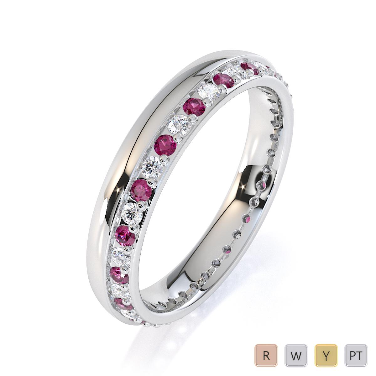Gold / Platinum Pink Sapphire and Diamond Full Eternity Ring RZ1516