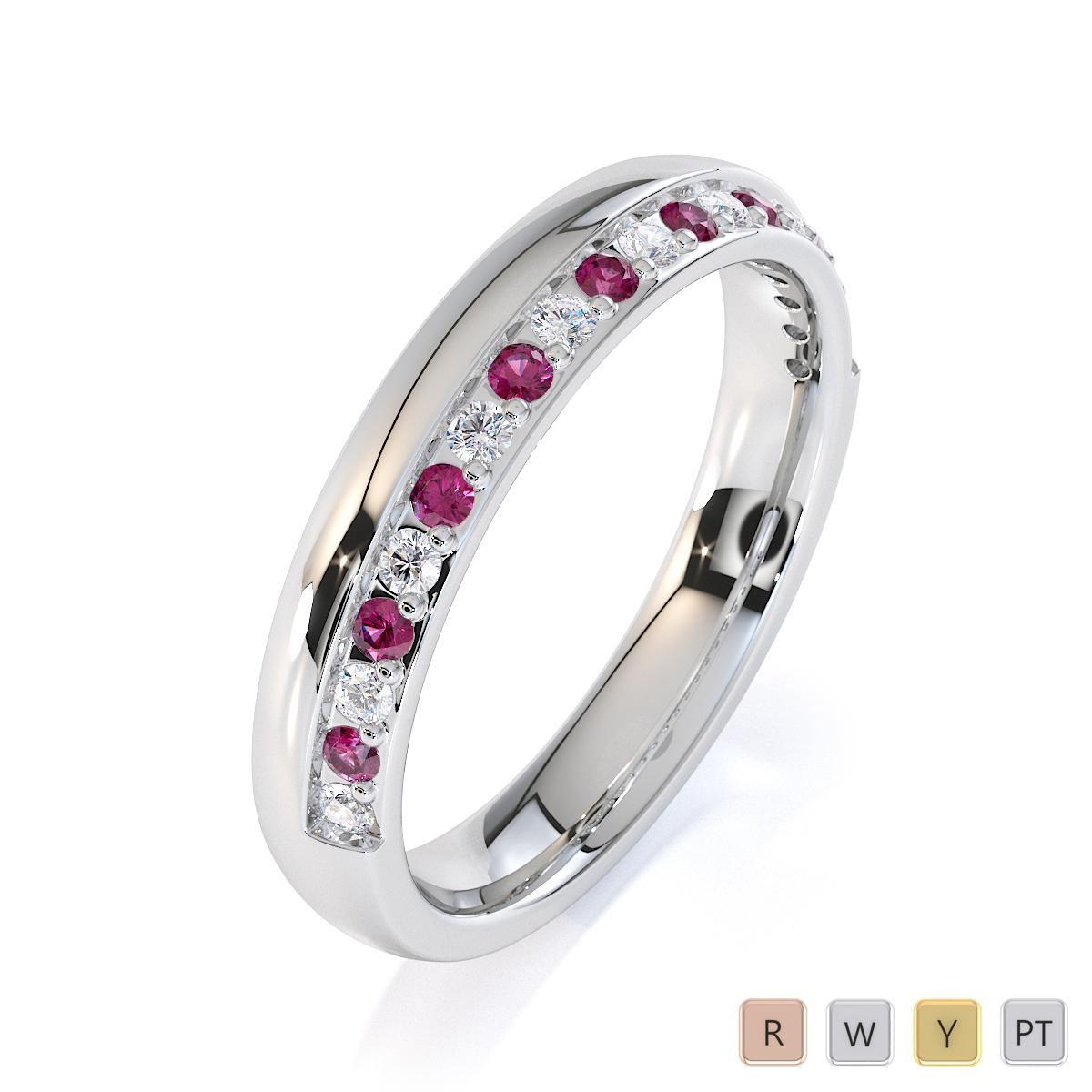 Gold / Platinum Pink Sapphire and Diamond Half Eternity Ring RZ1517