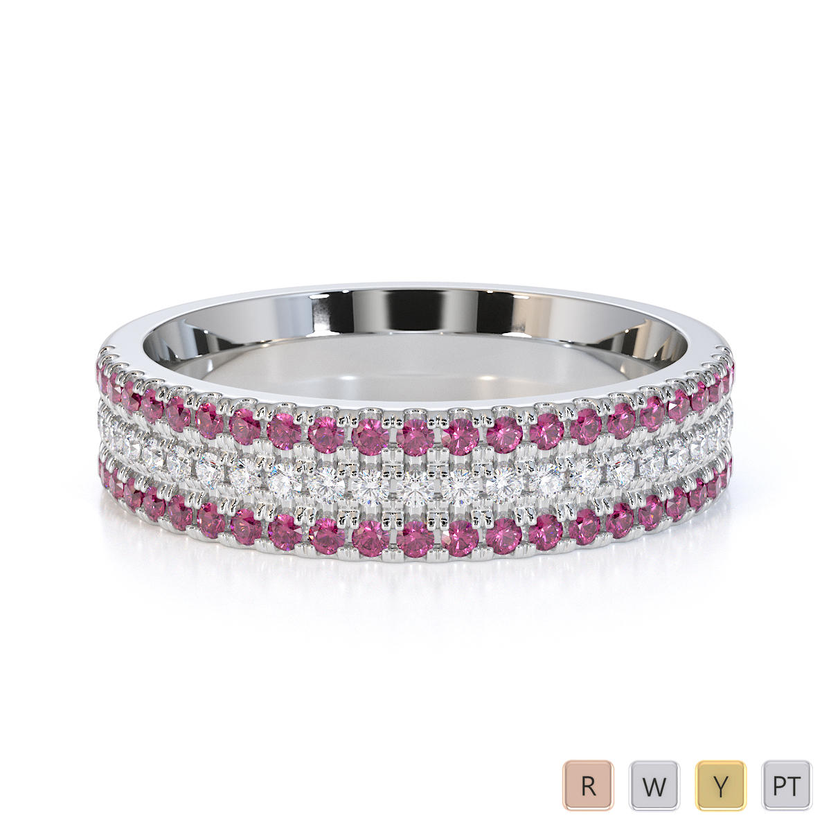 Gold / Platinum Pink Sapphire and Diamond Half Eternity Ring RZ1519