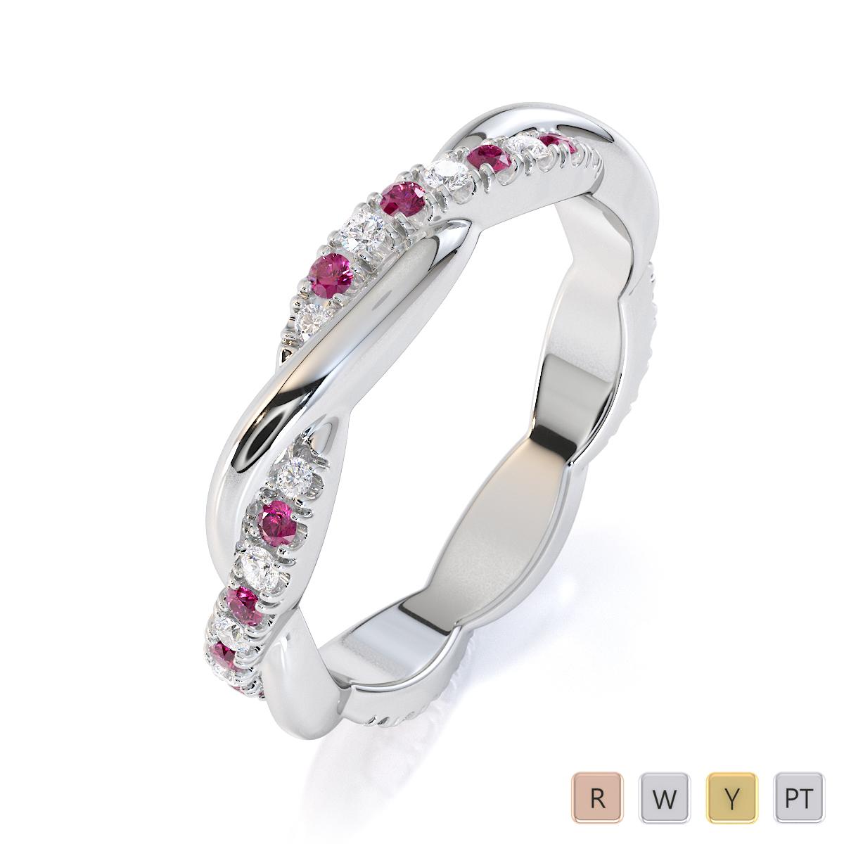 Gold / Platinum Pink Sapphire and Diamond Full Eternity Ring RZ1522