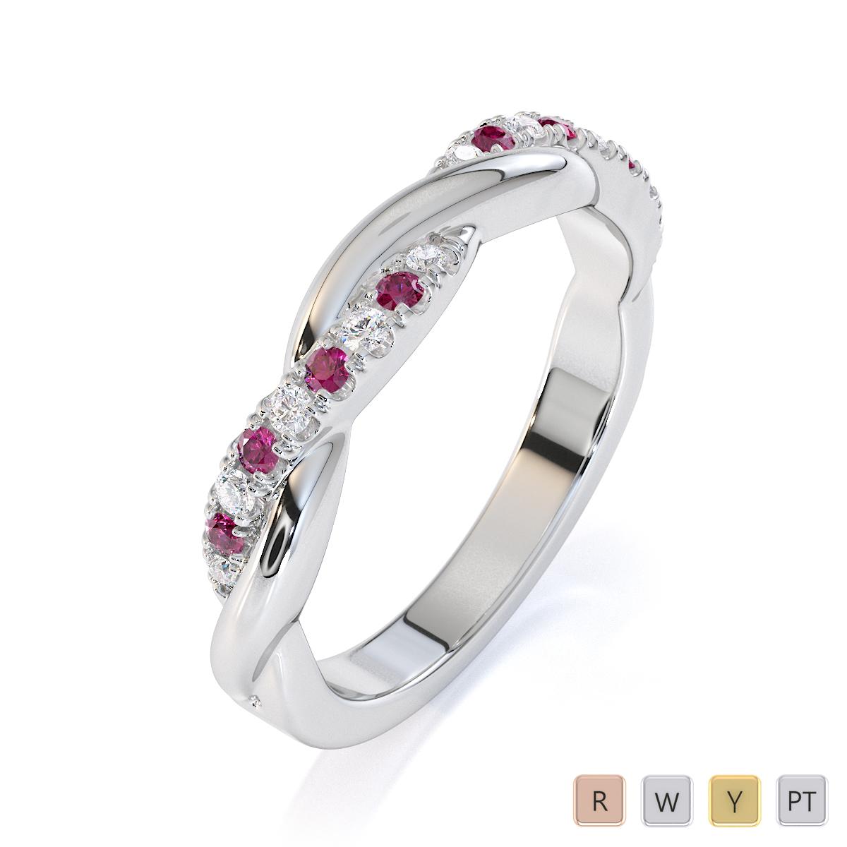Gold / Platinum Pink Sapphire and Diamond Half Eternity Ring RZ1523