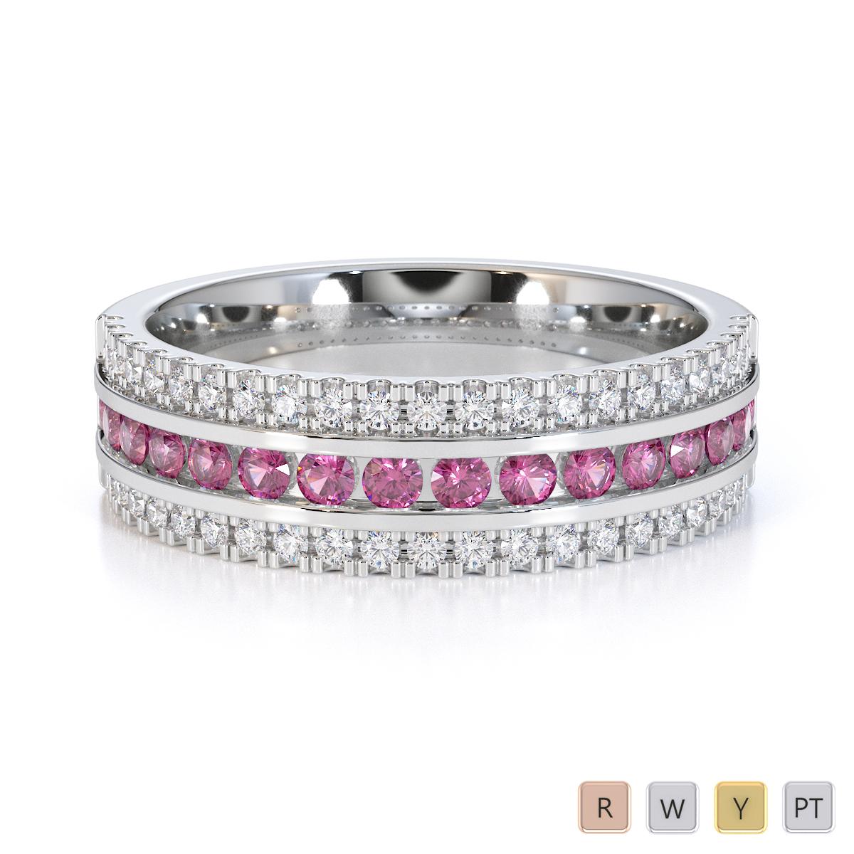 Gold / Platinum Pink Sapphire and Diamond Half Eternity Ring RZ1527