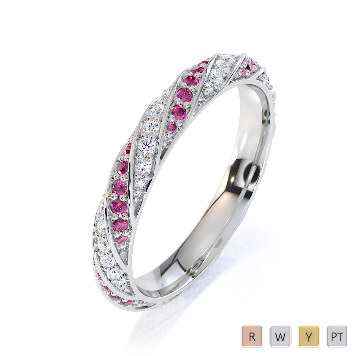 Gold / Platinum Pink Sapphire and Diamond Full Eternity Ring RZ1528