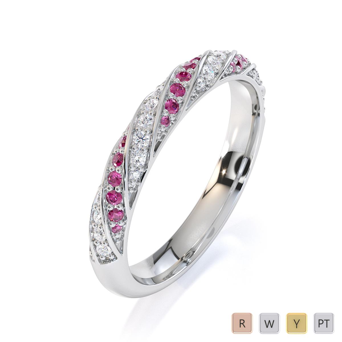 Gold / Platinum Pink Sapphire and Diamond Half Eternity Ring RZ1529