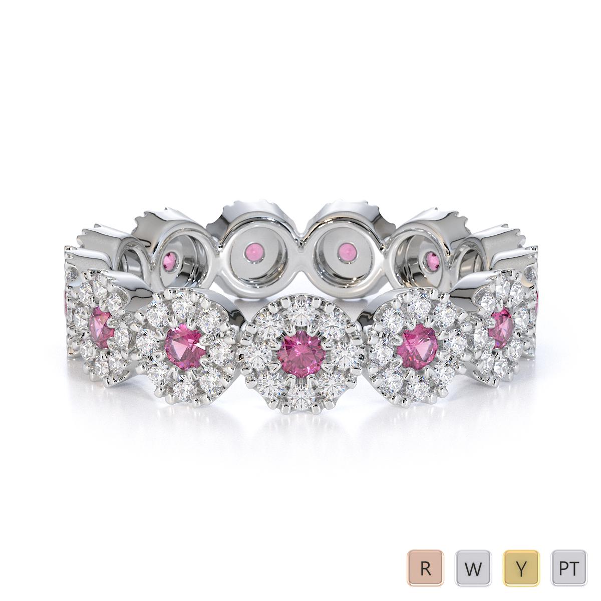Gold / Platinum Pink Sapphire and Diamond Full Eternity Ring RZ1530