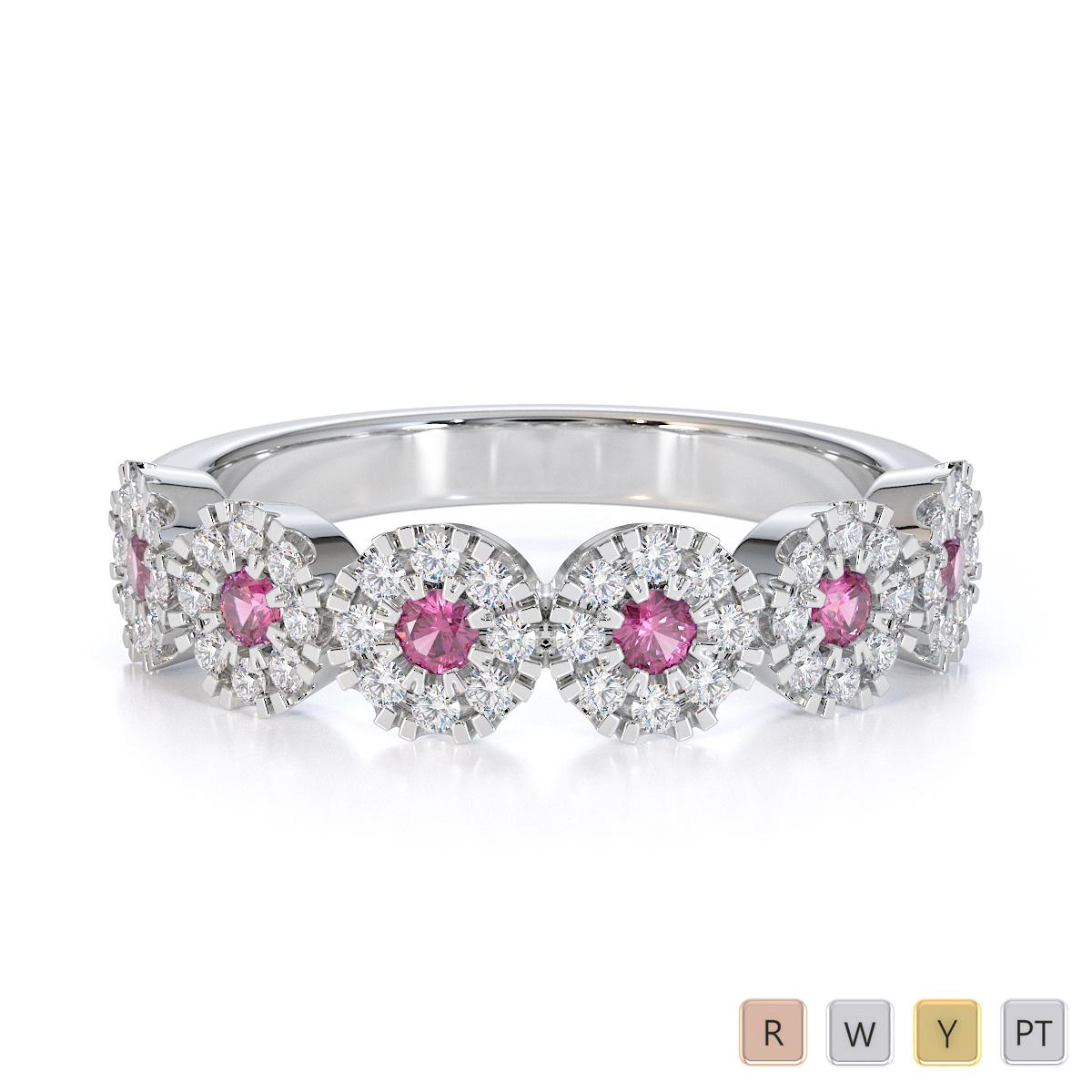 Gold / Platinum Pink Sapphire and Diamond Half Eternity Ring RZ1531