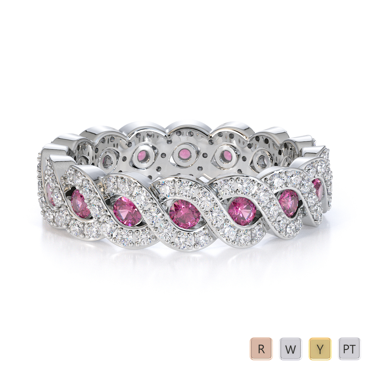 Gold / Platinum Pink Sapphire and Diamond Full Eternity Ring RZ1532