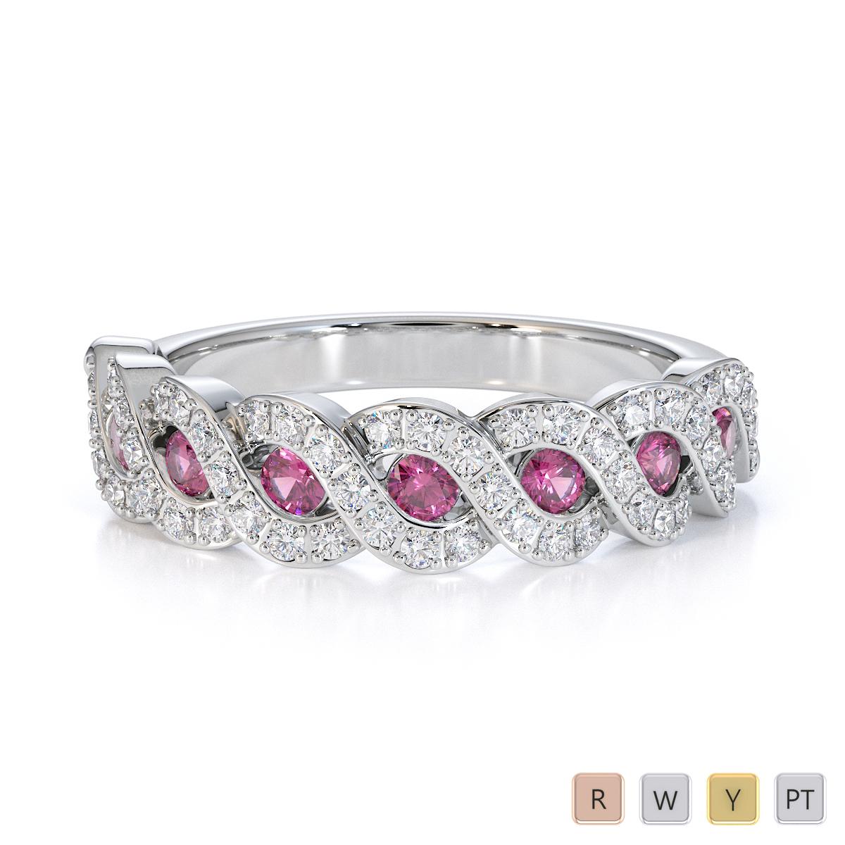 Gold / Platinum Pink Sapphire and Diamond Half Eternity Ring RZ1533
