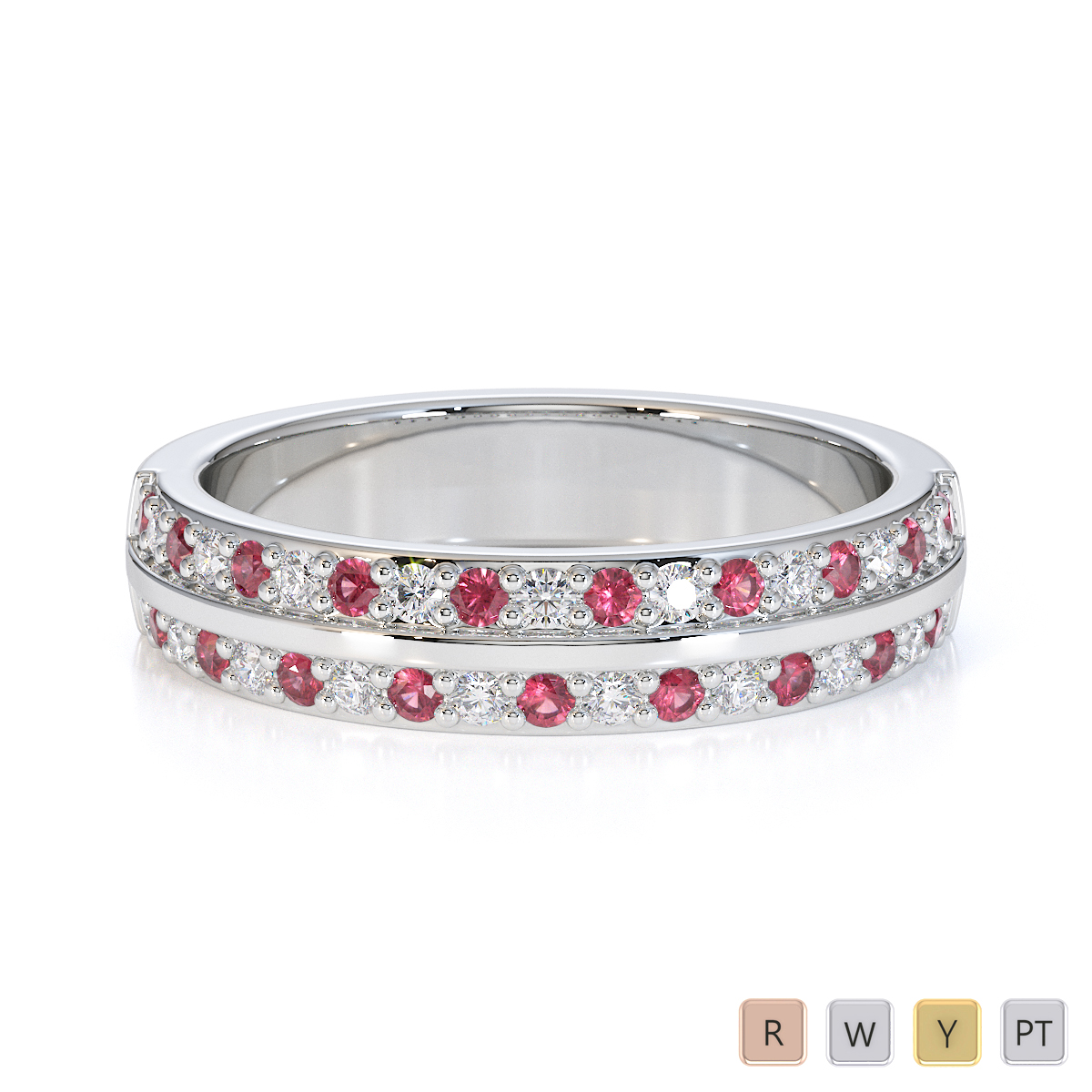 Gold / Platinum Pink Tourmaline and Diamond Half Eternity Ring RZ1505
