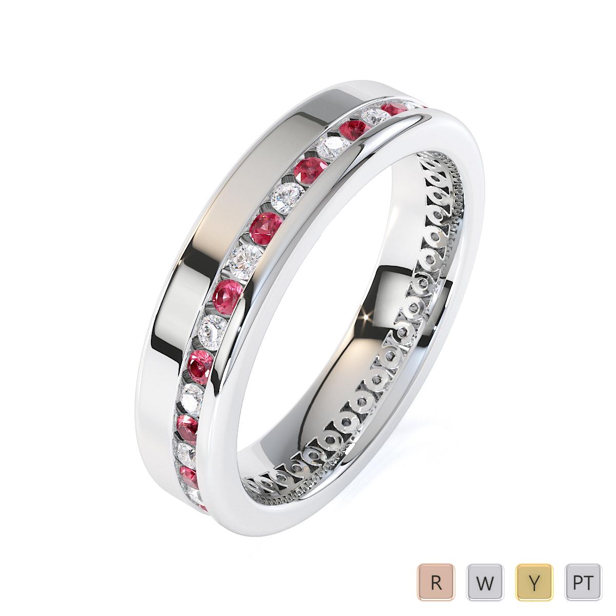 Gold / Platinum Pink Tourmaline and Diamond Full Eternity Ring RZ1514