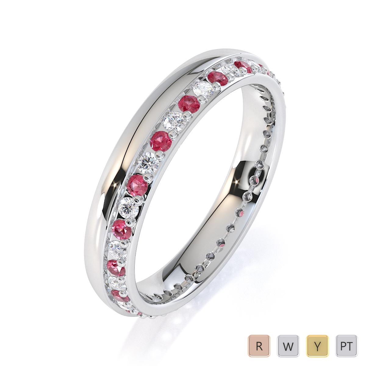 Gold / Platinum Pink Tourmaline and Diamond Full Eternity Ring RZ1516