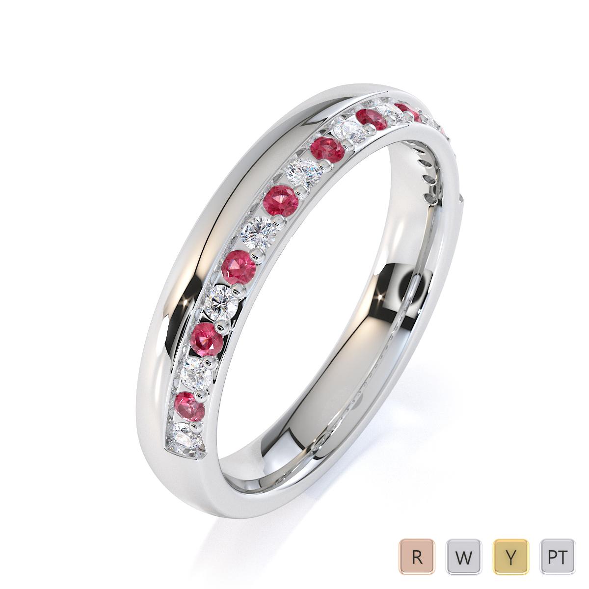 Gold / Platinum Pink Tourmaline and Diamond Half Eternity Ring RZ1517