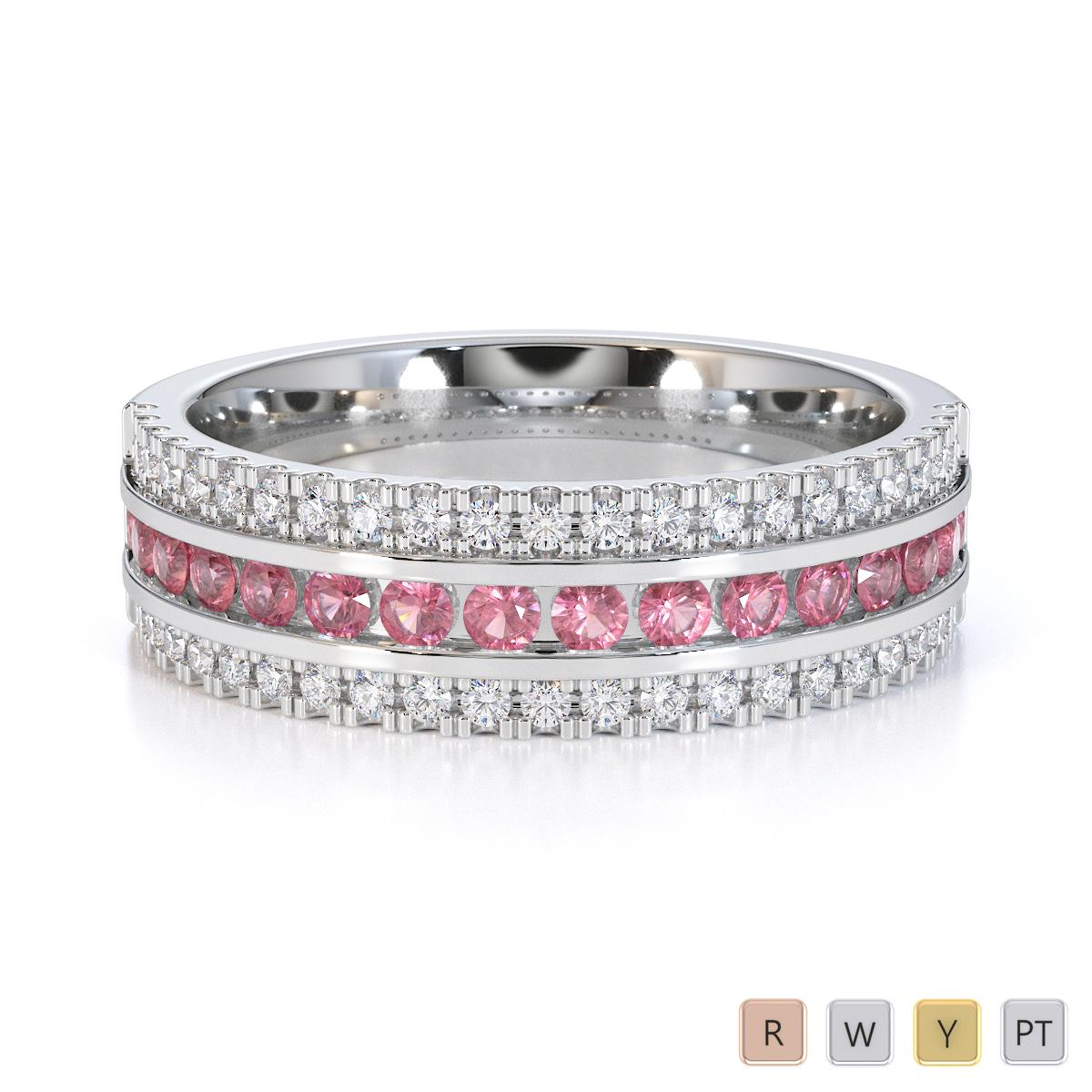 Gold / Platinum Pink Tourmaline and Diamond Half Eternity Ring RZ1527