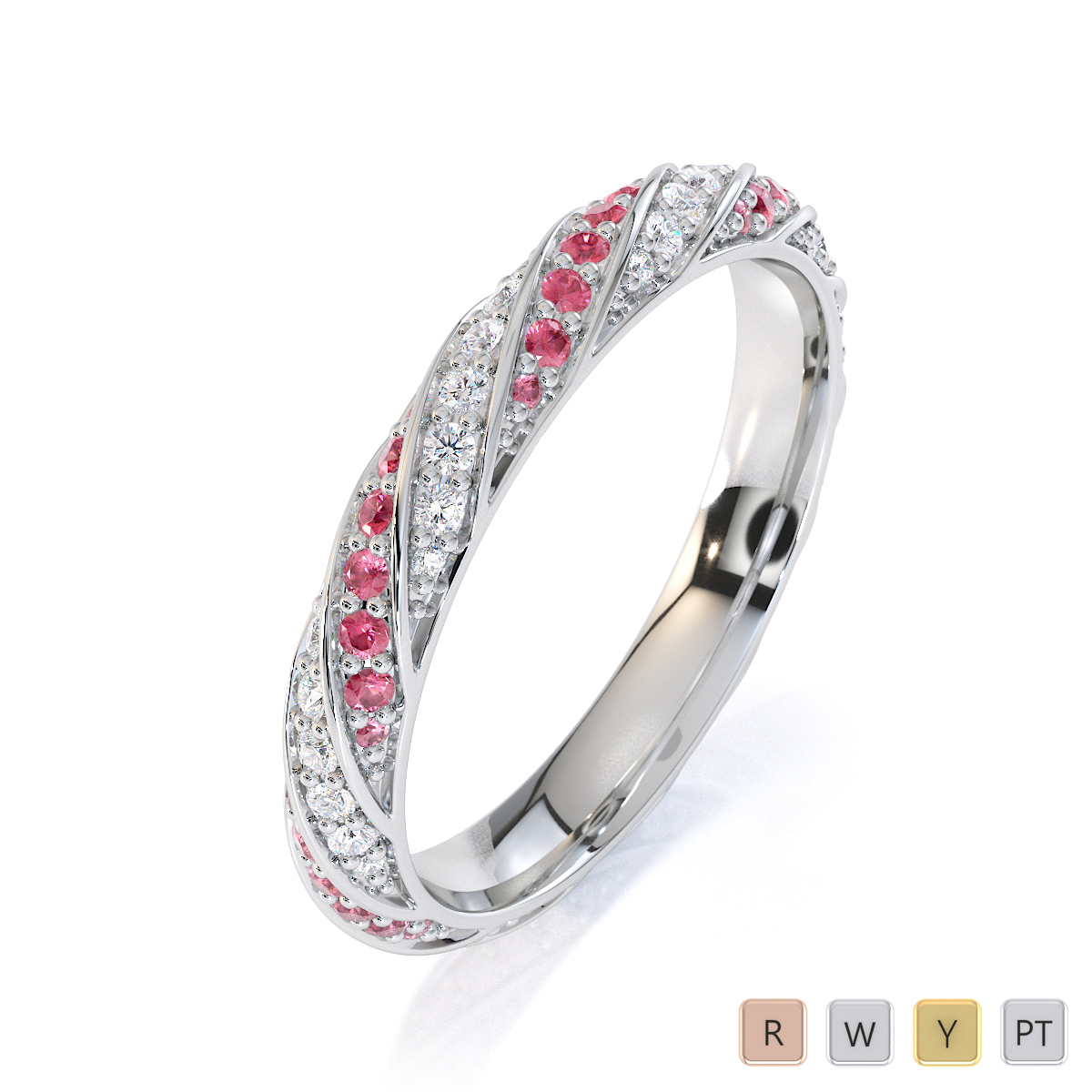 Gold / Platinum Pink Tourmaline and Diamond Full Eternity Ring RZ1528