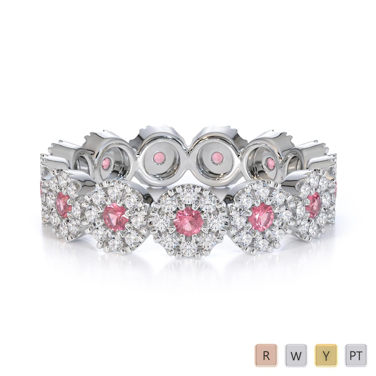 Gold / Platinum Pink Tourmaline and Diamond Full Eternity Ring RZ1530