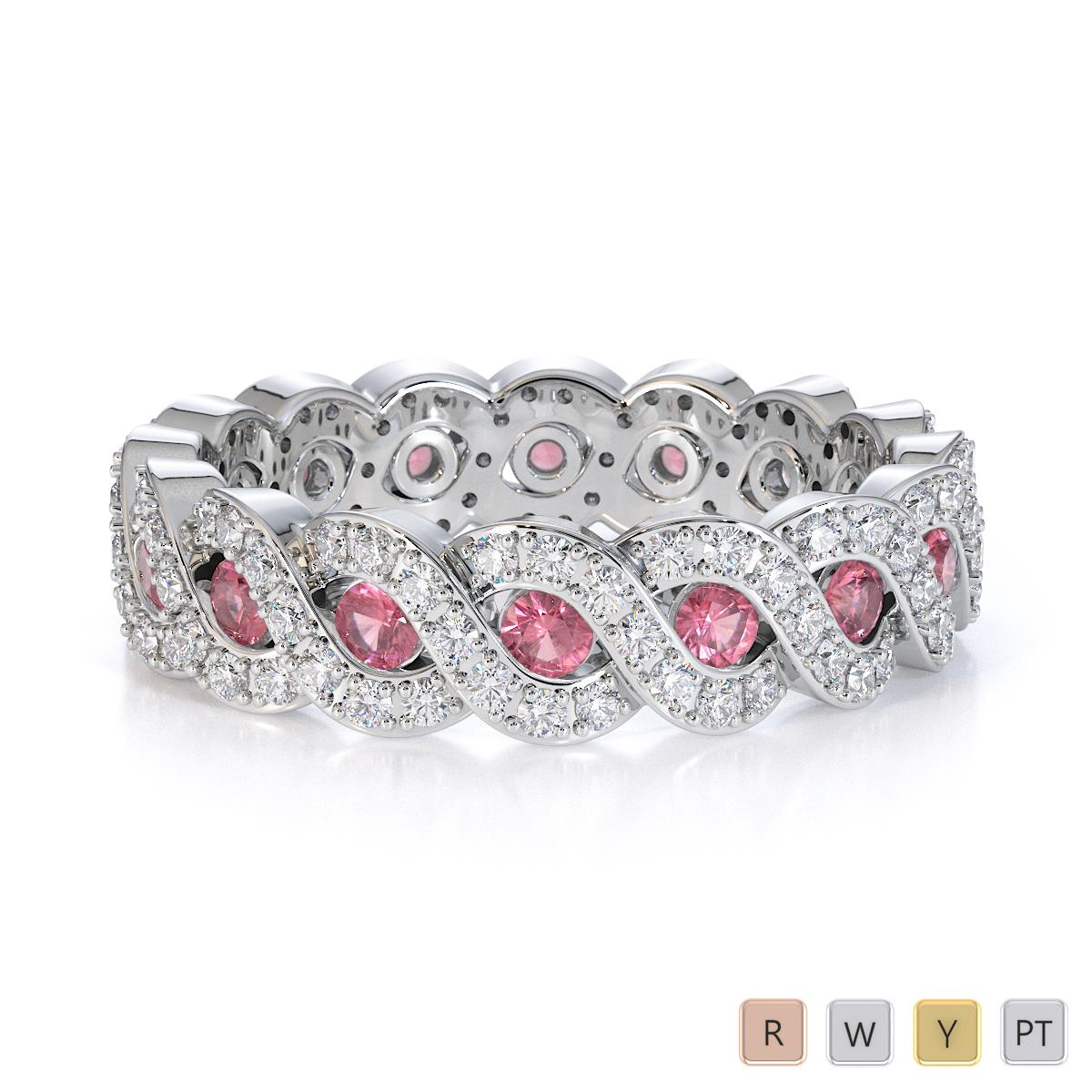 Gold / Platinum Pink Tourmaline and Diamond Full Eternity Ring RZ1532
