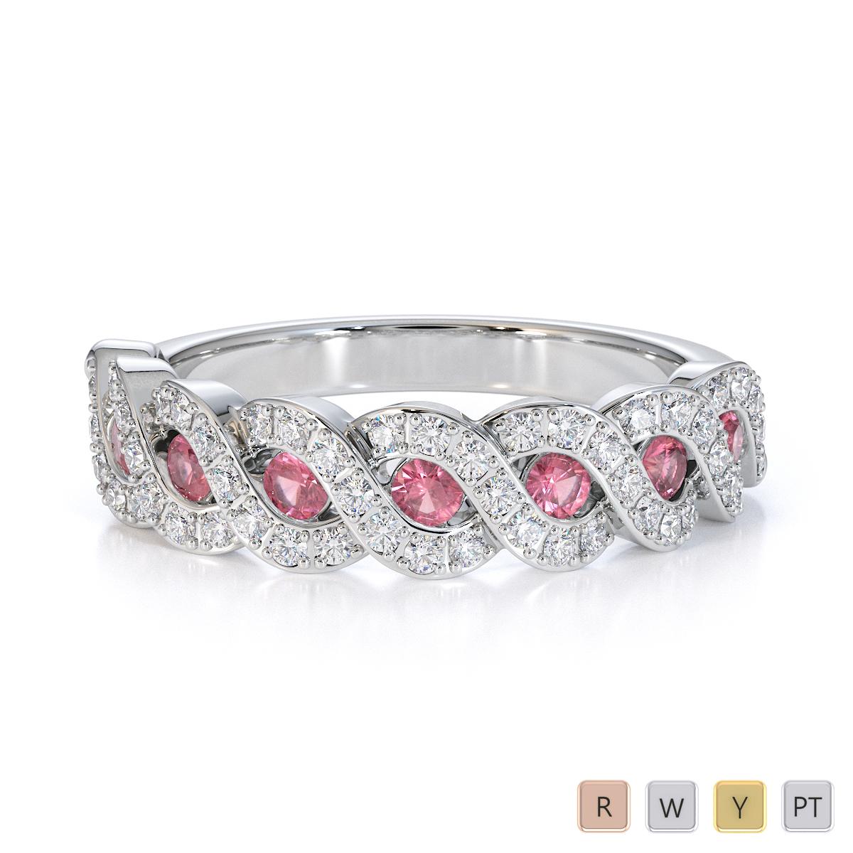 Gold / Platinum Pink Tourmaline and Diamond Half Eternity Ring RZ1533
