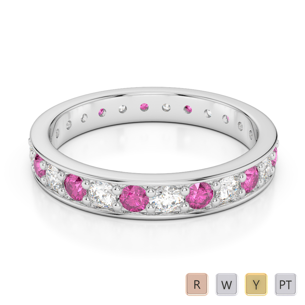 3 MM Gold / Platinum Round Cut Pink Sapphire and Diamond Full Eternity Ring AGDR-1080