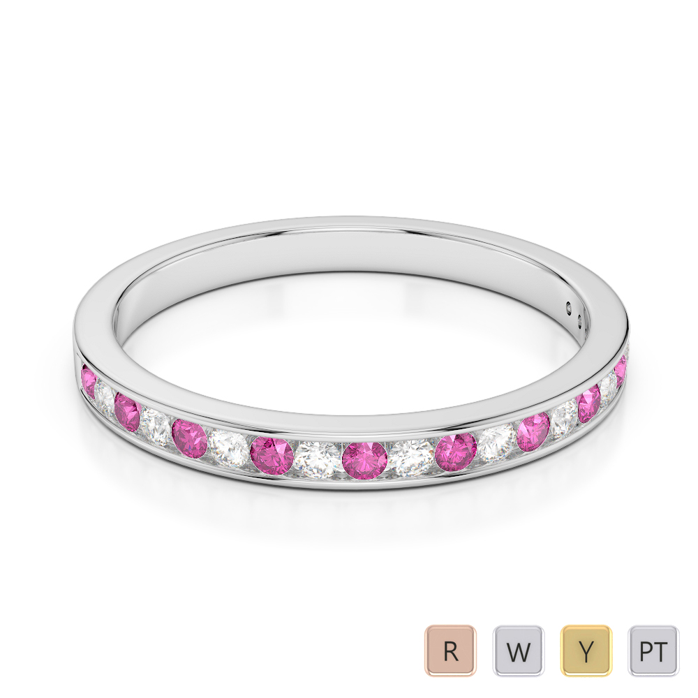 2.5 MM Gold / Platinum Round Cut Pink Sapphire and Diamond Half Eternity Ring AGDR-1089