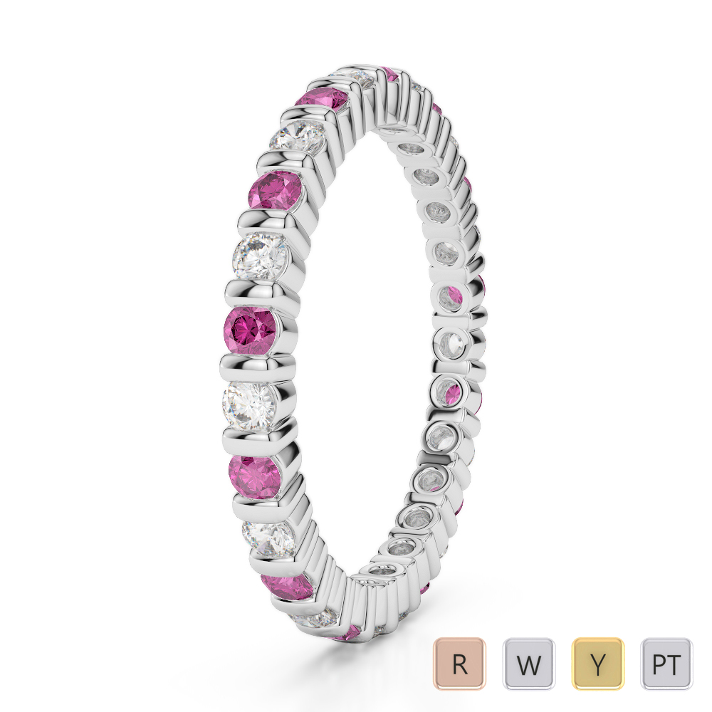 2 MM Gold / Platinum Round Cut Pink Sapphire and Diamond Full Eternity Ring AGDR-1092