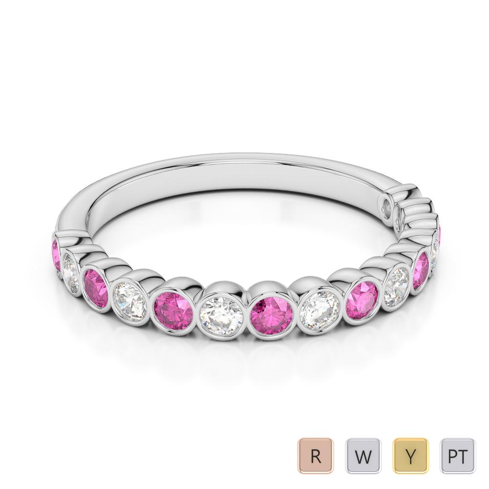 2.5 MM Gold / Platinum Round Cut Pink Sapphire and Diamond Half Eternity Ring AGDR-1102