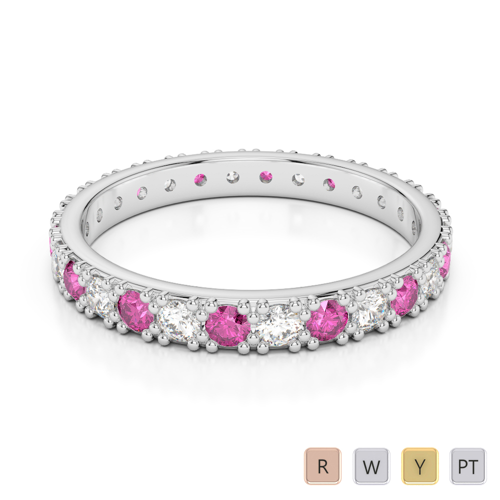 2.5 MM Gold / Platinum Round Cut Pink Sapphire and Diamond Full Eternity Ring AGDR-1127