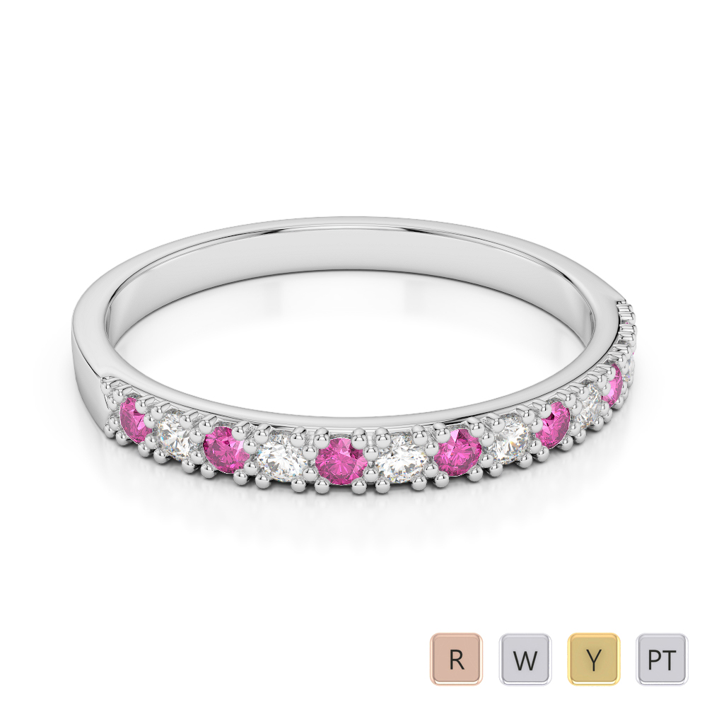 2.5 MM Gold / Platinum Round Cut Pink Sapphire and Diamond Half Eternity Ring AGDR-1129