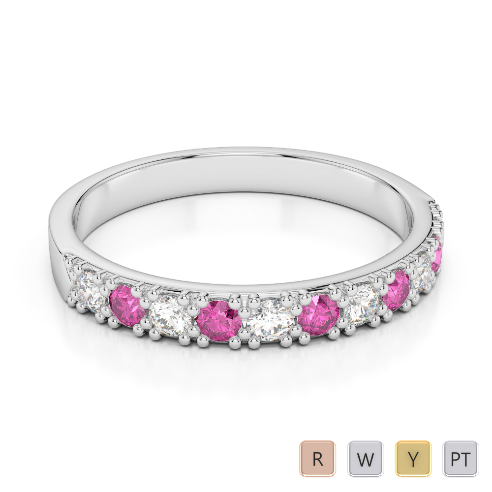 3 MM Gold / Platinum Round Cut Pink Sapphire and Diamond Half Eternity Ring AGDR-1130