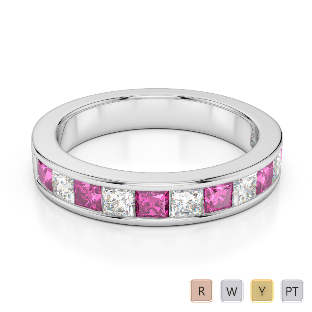 4 MM Gold / Platinum Princess Cut Pink Sapphire and Diamond Half Eternity Ring AGDR-1137